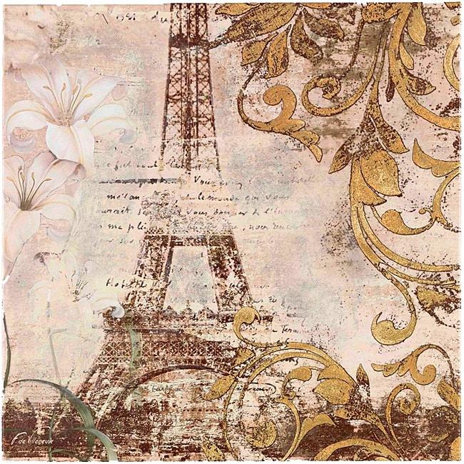 Fabrice de Villeneuve's 'Paris in Gold' Giclee Canvas Art
