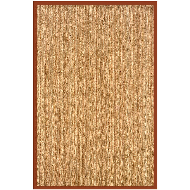 Natural Fiber Rust Rectangle Rug (8' x 10')