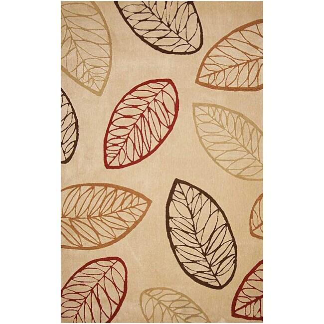 Hand-tufted Gold Leaf Rug (3'6 x 5'6)