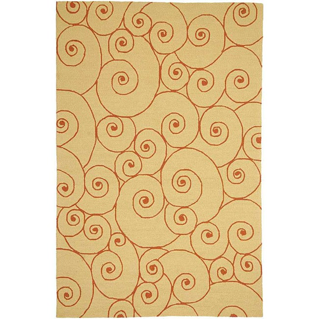 Hand-hooked Sand Area Rug (5'x 7'6)
