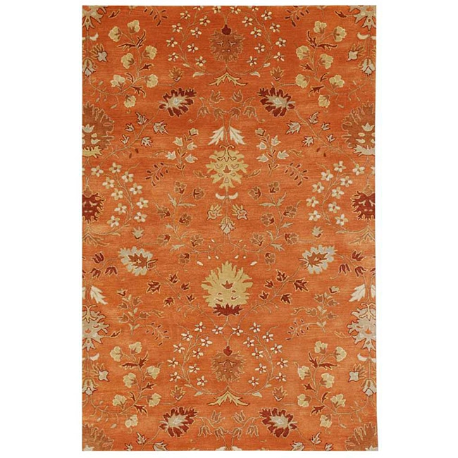 Hand-Tufted Orange/ Red Floral Wool Area Rug (3'6 x 5'6)