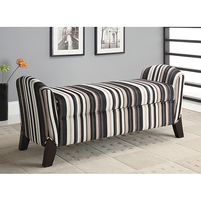 Striped Storage Arm Bench Ottoman Free Shipping Today