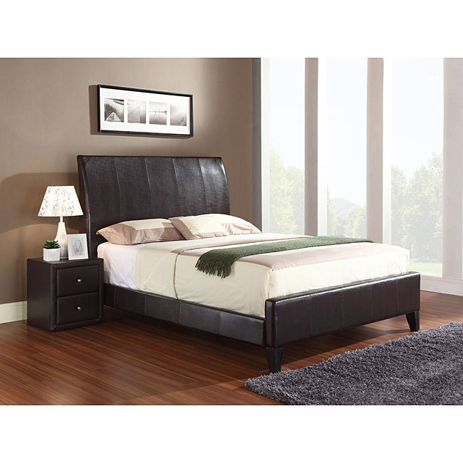 Flare California King Size Brown Bonded Leather Sleigh Bed - Thumbnail 0