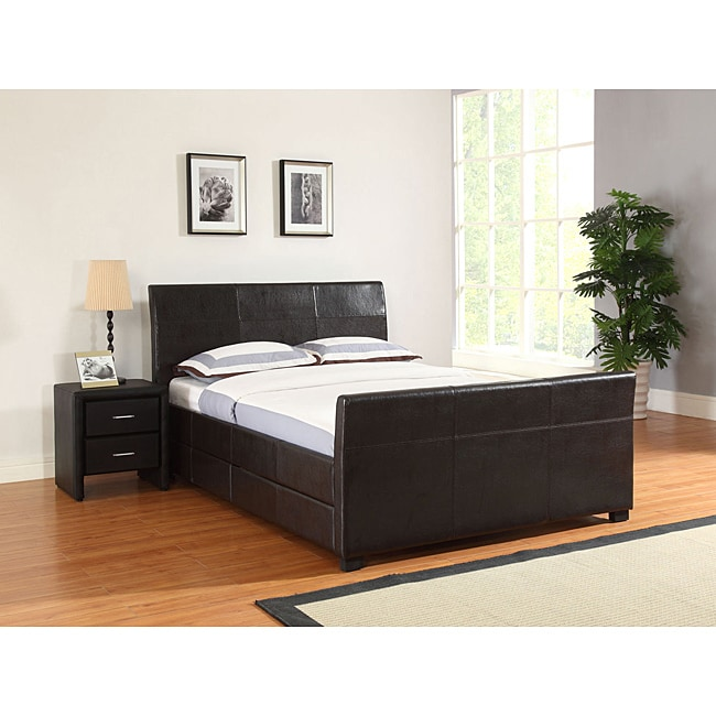 Quad Cal King Size Brown Faux Leather Storage Bed - Thumbnail 0