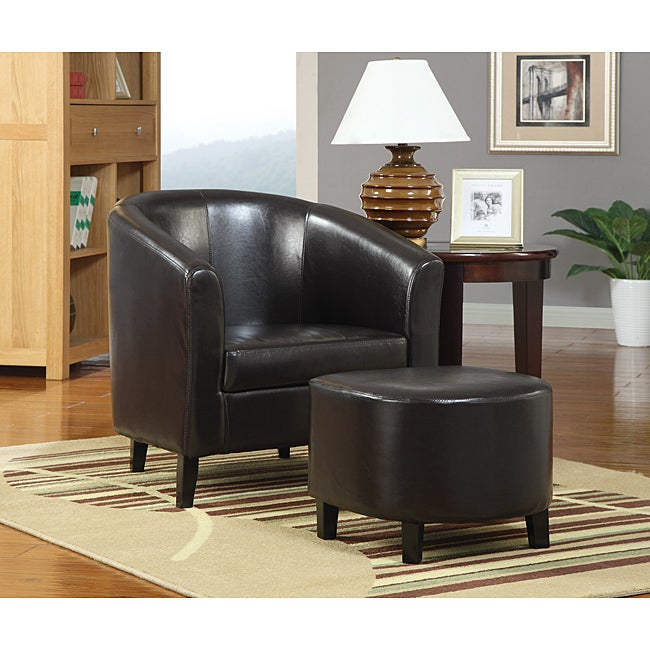 Barrel Dark Brown Leather Accent Club Chair and Ottoman