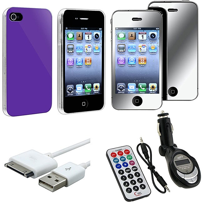 Case/ Mirror LCD Protector/ FM Transmitter/ Cable for Apple iPhone 4S