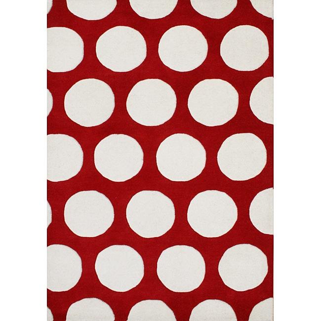 Alliyah Handmade Red New Zealand Blend Wool Rug (5' x 8')