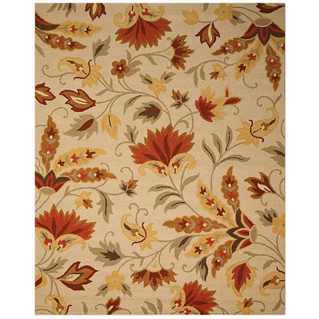 EORC Hand-tufted Wool Beige Sunset Garden Rug (5' x 8')