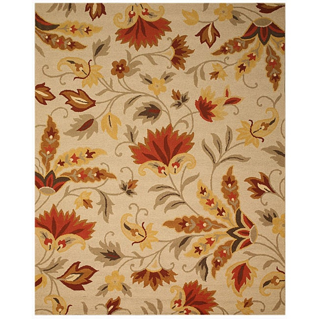 EORC Hand-tufted Wool Beige Sunset Garden Rug (8' x 10') - Thumbnail 0