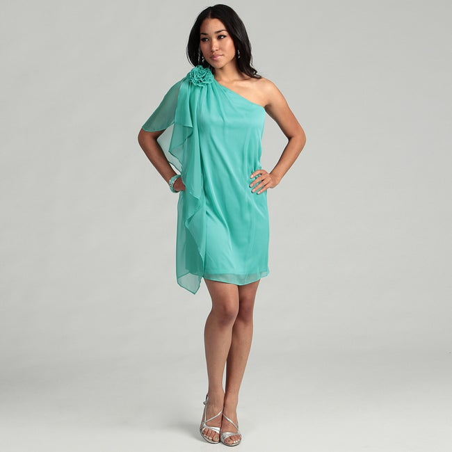 London Times Women's Seafoam Rosette Dress