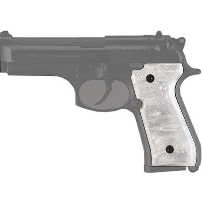 Hogue White Pearl Beretta 92 Polymer Grip Panels