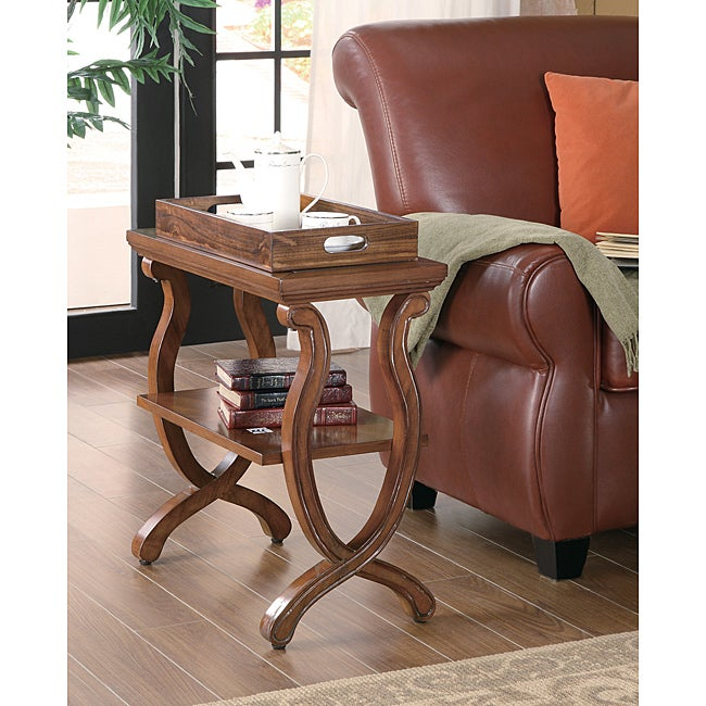 Brown Wood Chair Side End Table with Tray Top