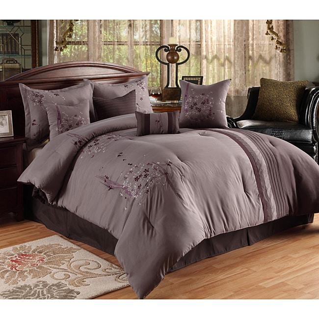 Arabesque Plum/ Grey Oversized 8-piece Comforter Set