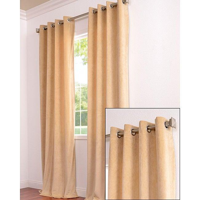 Exclusive Fabrics Signature Grommet Wheat Velvet 108-Inch Curtain Panel