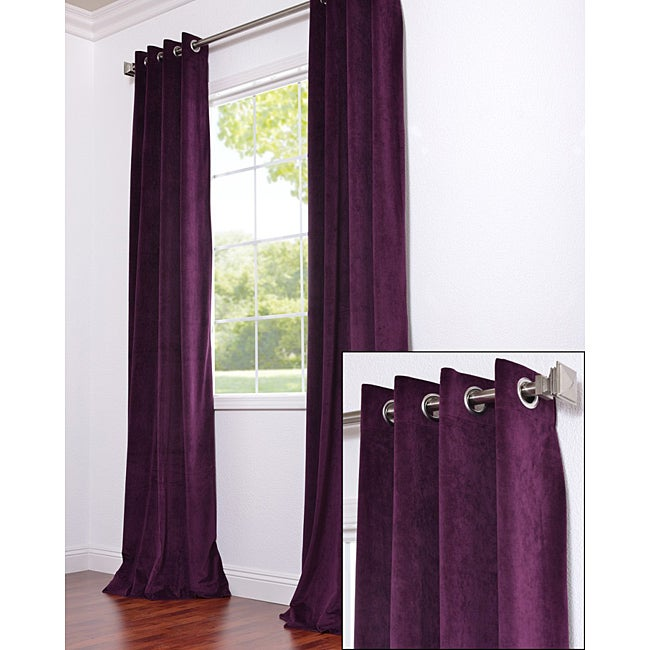 Exclusive Fabrics Signature Grommet Eggplant Velvet 108 Inch Curtain Panel Free Shipping Today 6462917