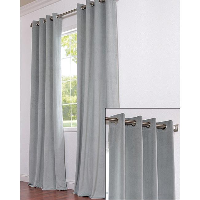 Exclusive Fabrics Signature Grommet Grey Blue Velvet 108-Inch Curtain Panel
