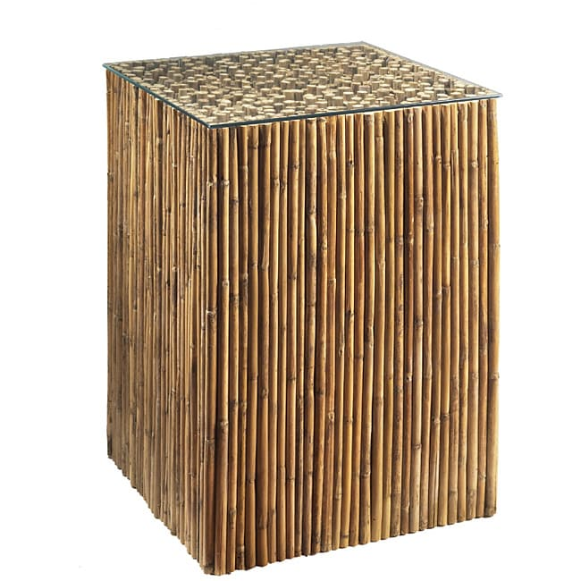 Shop Bamboo Stick Glass Top End Table Free Shipping Today - Bamboo end table glass top