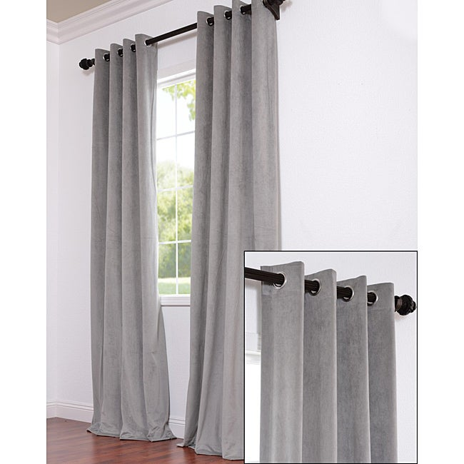 Exclusive Fabrics Signature Grommet Grey Velvet 96-inch Curtain Panel