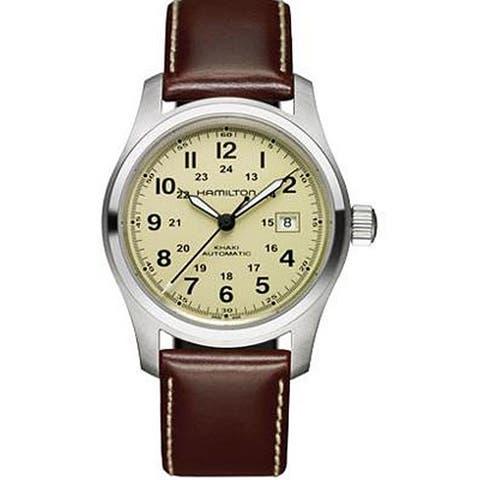 Hamilton Men's Khaki Field Beige Dial Brown Leather Automatic Watch