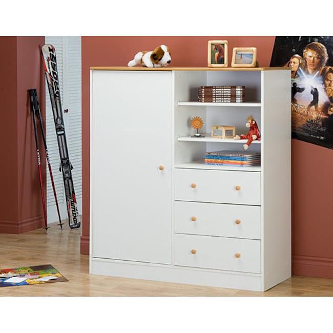White Maple Wardrobe with Storage Drawers