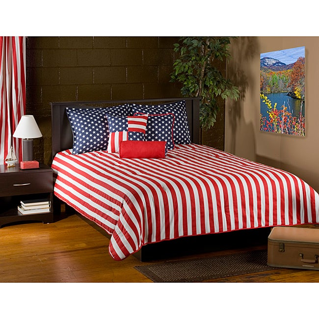Shop patriot 6 piece king size comforter set free shipping today 6470628 for 6 piece king size bedroom sets