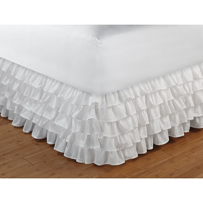 Greenland Home Fashions Multi-Ruffle White 15-Inch Drop Queen Bedskirt