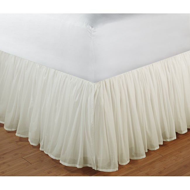 Greenland Home Fashions Cotton Voile Ivory 15-Inch Drop Queen Bedskirt