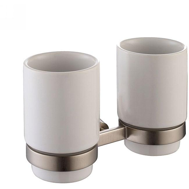 Kraus Amnis Brushed Nickel Wall-mounted Double Ceramic Tumbler Holder