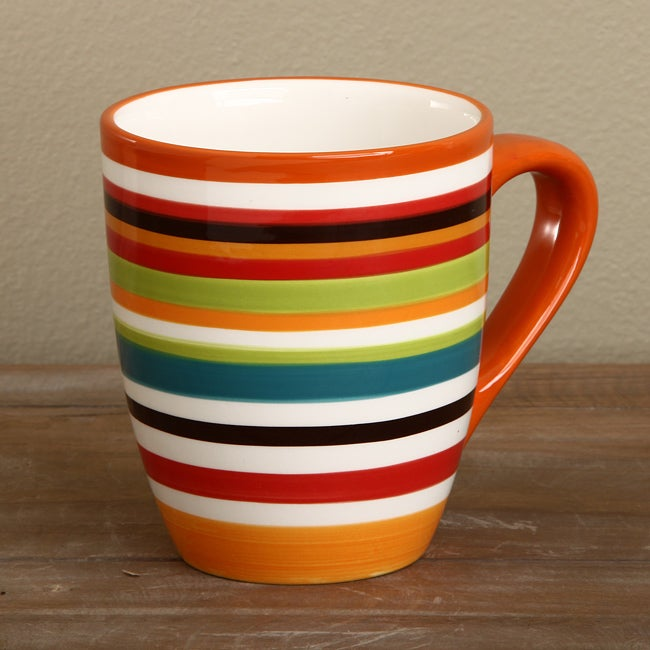 Shop Omniware Rio Striped Ceramic Mugs (Set of 4) - Free Shipping On ...