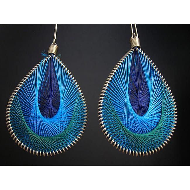 Brass Blue and Green Thread Earrings (India)