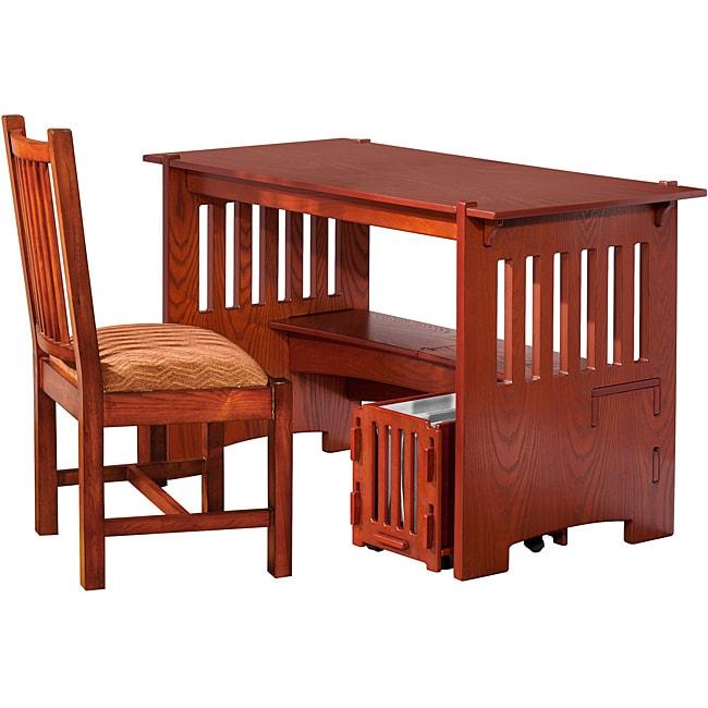 Legare 48 Inch Amber Oak Mission Desk With File Cart