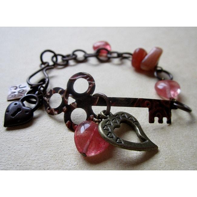 Vintage 'Key to My Heart' Carnelian Bracelet