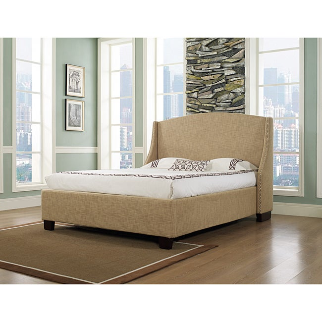 Oxford-X Eastern King-size Almond Fabric Bed