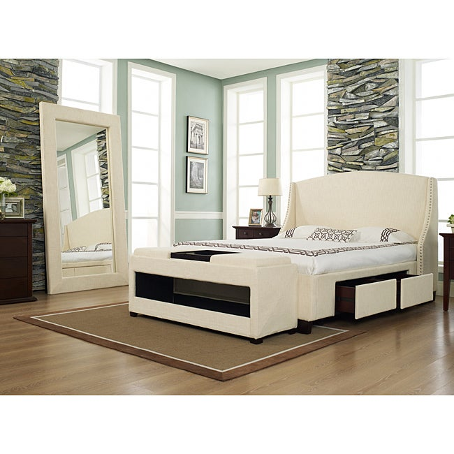 Oxford-X 4-Drawer Queen-size Wheat Fabric Bed