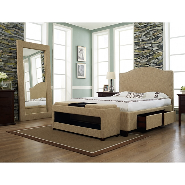 Venice-X Cal King-size Almond Fabric Four-Drawer Storage Bed