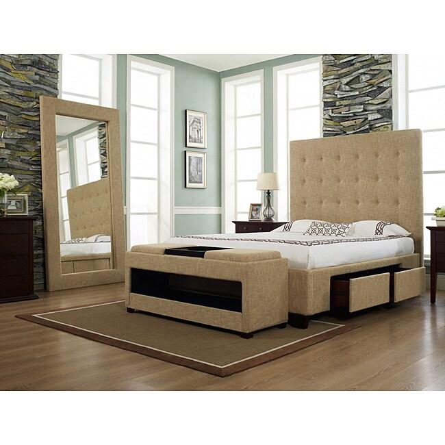Malibu-X Eastern Almond Fabric 4-drawer King-size Storage Bed