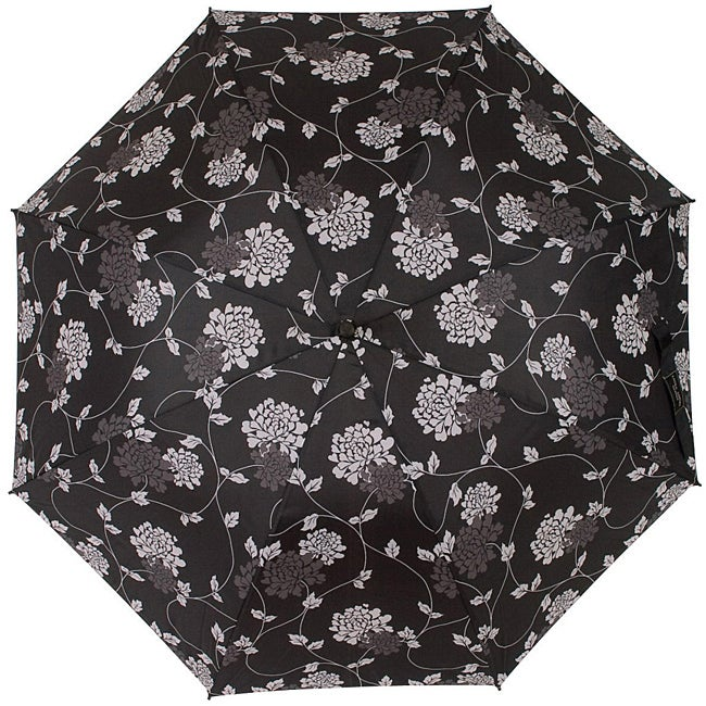 Laura Ashley Isodore Black/Charcoal-gray Contemporary Floral Umbrella