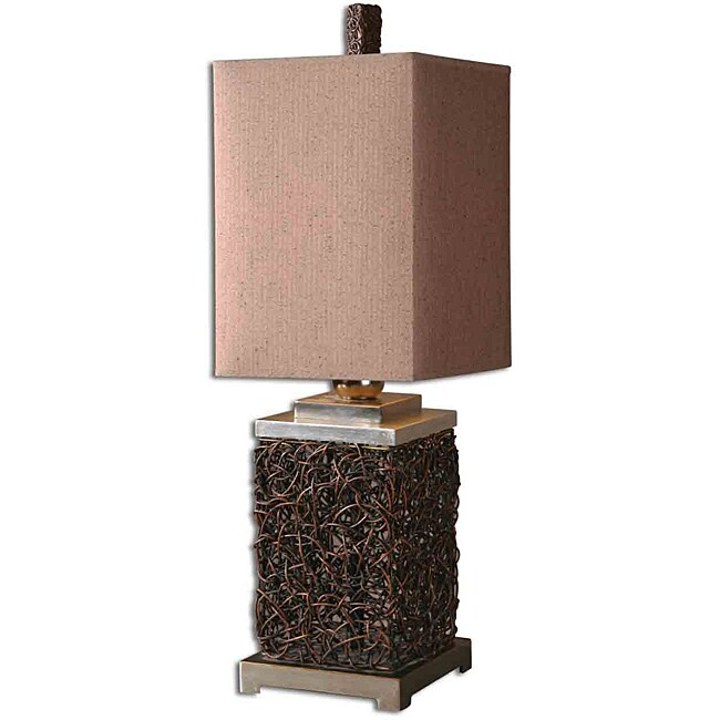 Uttermost Knotted Rattan Rectangle Table Lamp