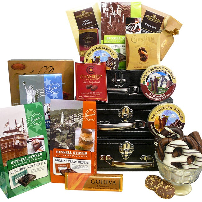 Gift Baskets: World Traveler Gift Tower - International Collection of Decadent C