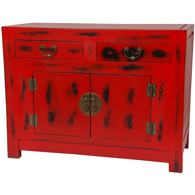 Traditional Antique Red Chinese Cabinet (China)