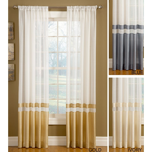 Top Down Reversible Silk Banded Sheer Panel Curtains