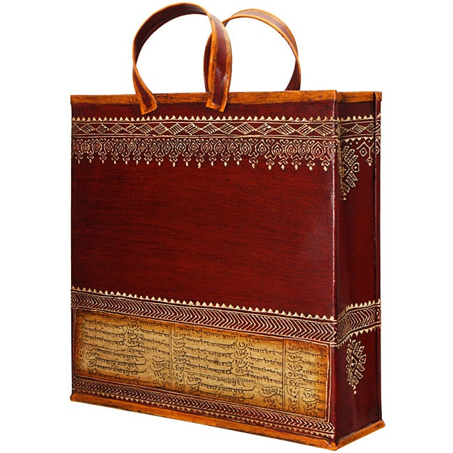 Wrought Iron Embossed 'Shopping Bag' Magazine Holder (India)