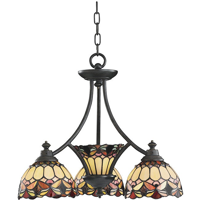 Aztec Lighting Tiffany-style 4-light Bronze Chandelier