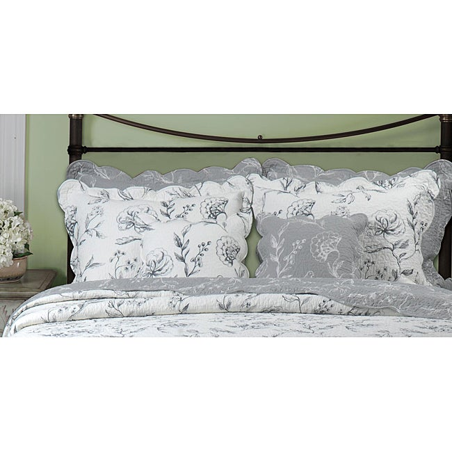 Greenland Home Fashions Paloma 2-piece Grey/ Ivory Standard Sham Set