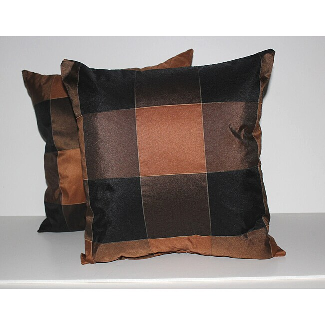 RLF Home Pascal Check Cognac Decorative Pillows (Set of 2)