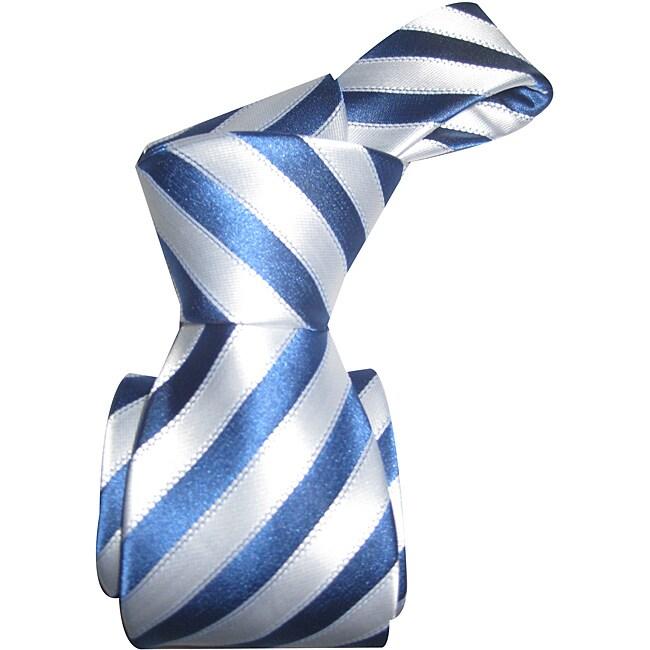 Dmitry Men's Italian Pearl White Striped Silk Tie
