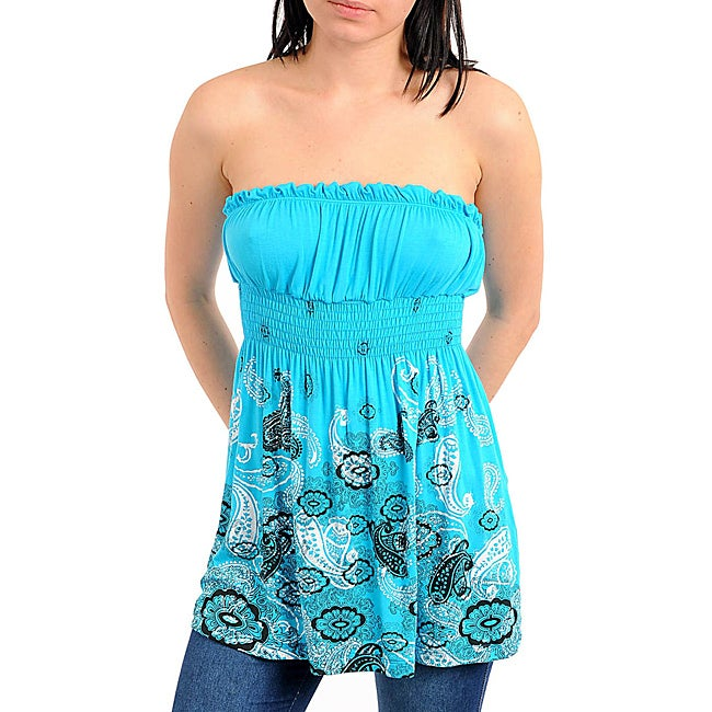 Stanzino Women's Blue/ White Paisely Studded Top