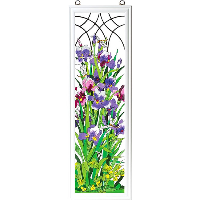 Hand-painted 'Iris Trellis' Art Wood Frame Panel