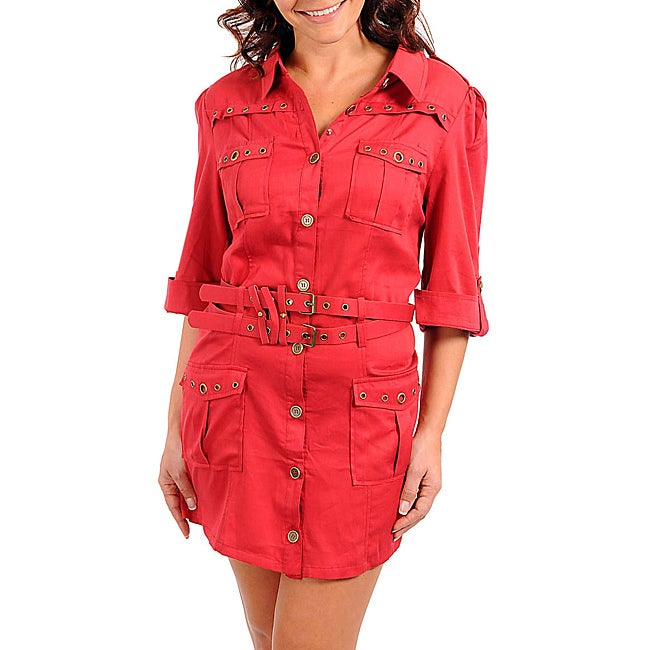 Stanzino Women's Plus Rolled Sleeve Belted Red Dress
