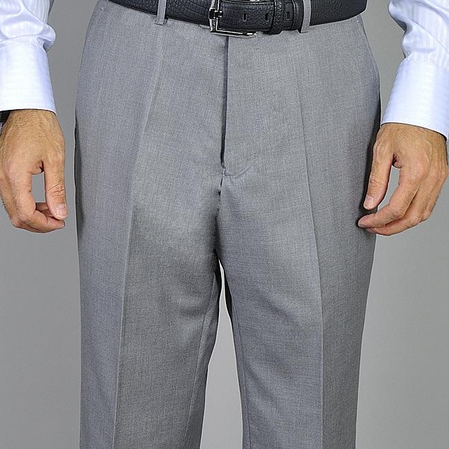 Men's Light Gray Flat Front Pants